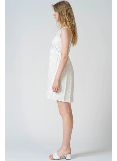 Reyon Dantel Askılı İşlemeli Günlük Elbise Beyaz Beyaz